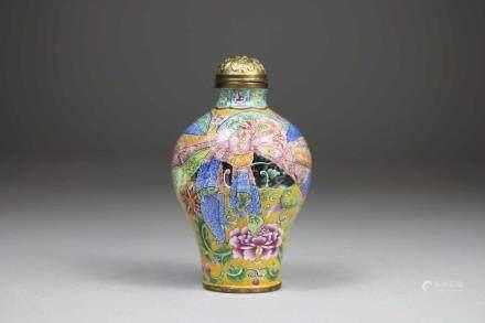 Snuff Bottle, China, Peking-Email auf Kupfer, blaue 4-Zeichen Qianlong-Siegel-Marke, Standard-
