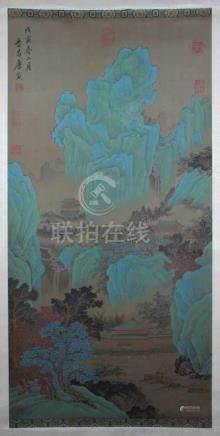Rollbild, China 20. Jh., Seidenmalerei, Berglandschaft, am Rand bezeichnet, Maße: 170 x 48 cm.