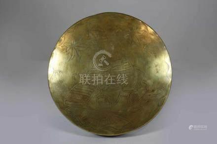 Gong, Japan 20. Jh., mit Samurai-Darstellung, Durchm.: 26 cm, H.: 3 cm.