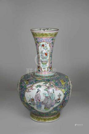 Vase, China 20. Jh., polychrom staffiert, Medallions mit Dorfszene, floraler Dekor, Reste einer