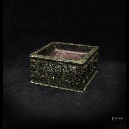墨海方硯(端溪御題仿青銅硯)