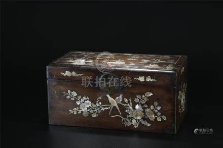 Rare 19th C. Mother of Pearl inlaid Nannu wood box