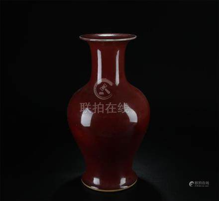Late 19/20th C. copper-red glazed large vase