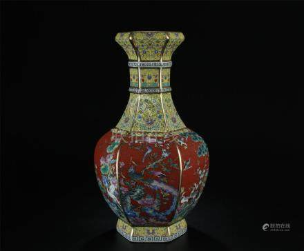 19/20th C. nice enamel painted wucai vase/phoenix