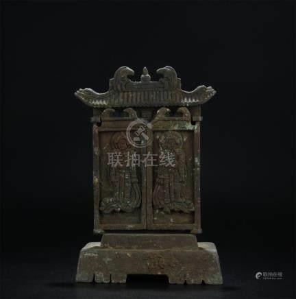19th C. bronze carved Buddha shrine