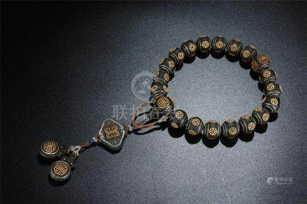 Lovely agarwood beads/gold inlaid rosary