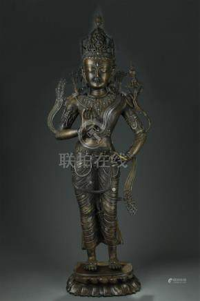 Antique large silver inlaid two colour bronze Buddha