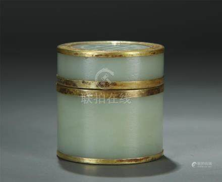A gilt silver mounted white jade box