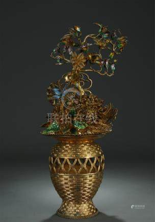 Beautiful gilt silver/filigree enamel floral basket