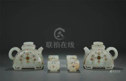 x6 gemstone inlaid white jade tea service
