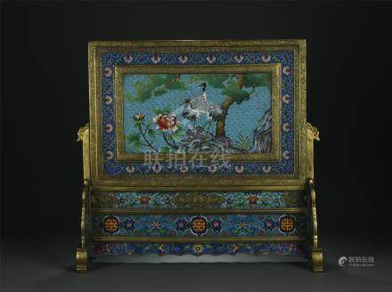 19/20th C. rare large gilt bronze cloisonne table