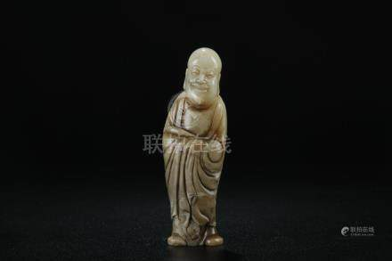 A nice carved shoushan stone Lohan figure; Republic