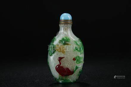 Rare triple-colour overlay peking glass snuff bottle;