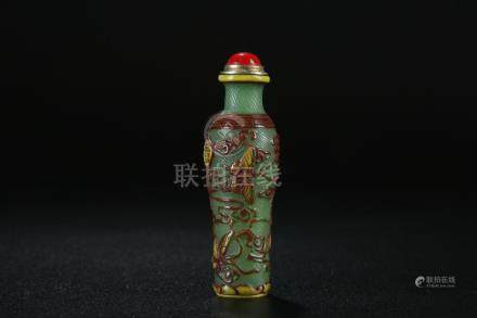 19th C. triple colour peking glass snuff bottle