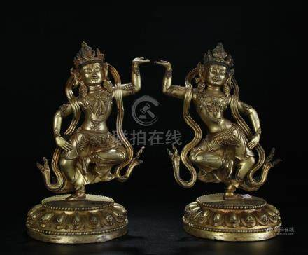Antique pair gilt bronze figure of dancing Guanyings