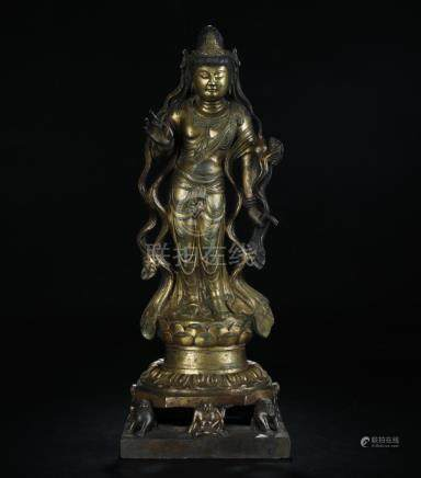 Antique gilt bronze figure of standing Guanying