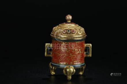 19th C. iron red gilt dragons tripot burner