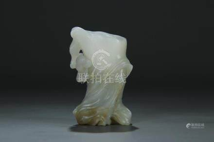 18/19th C. white jade carved small vase bottle