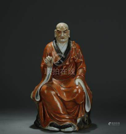19/20th C. gold painted on iron red ground figure of
