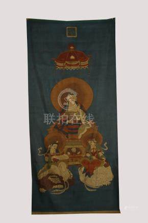 19th C. silk embroidered kesi textile panel, Sakyamuni
