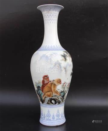 Wang Kunrong Famille Rose Vase