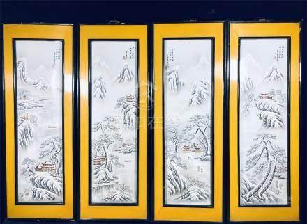 4 Huang Ying Famille Rose 'Snow' Screens