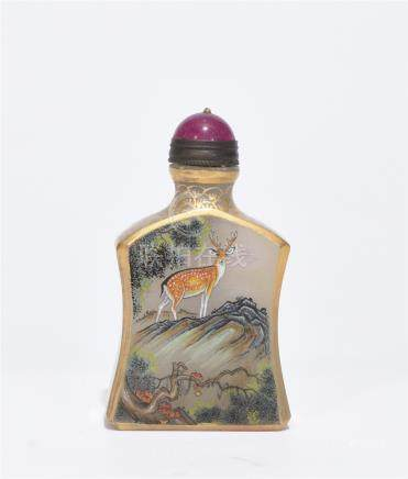 A Famille Rose Glass Snuff Bottle