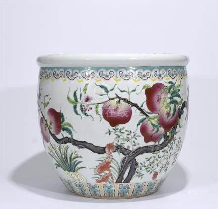 A Famille Rose 'Peach' Jardinières
