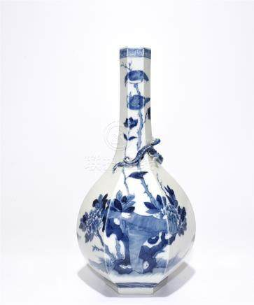 Blue And White 'Figure' Hexagon Vase