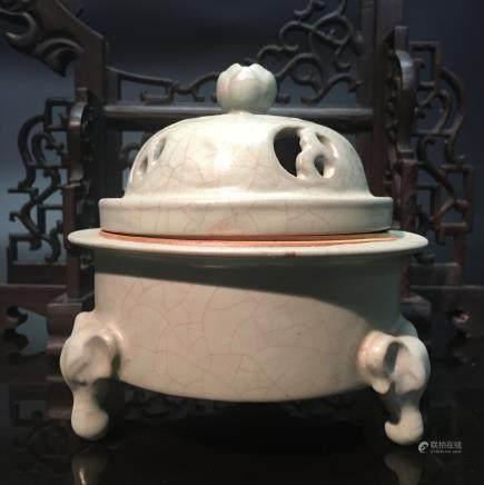 Chinese Celdon Glazed Tripod Censor