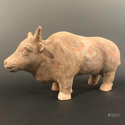Chinese Han Style Colored Pottery Buffalo