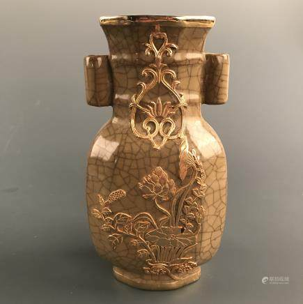 Chinese Gilt Porcelain Square Vase