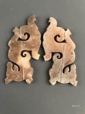 A Pair of Chinese Jade Pendant Openwork
