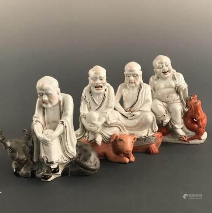 4 Pieces of Porcelain Buddha Figure