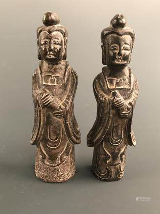 A Pair of Chinese Jade Figure