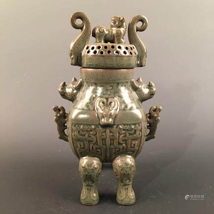 Chinese Celdon Glazed Censer