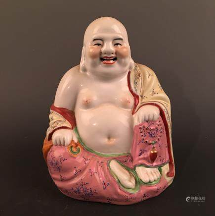 Chinese Famille Rose Happy Buddha Statue