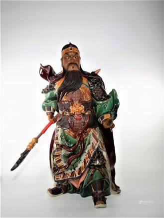 Chinese WuCai Porcelain pottery WuSheng Dragon Guan gong Guan Yu warrior Statue