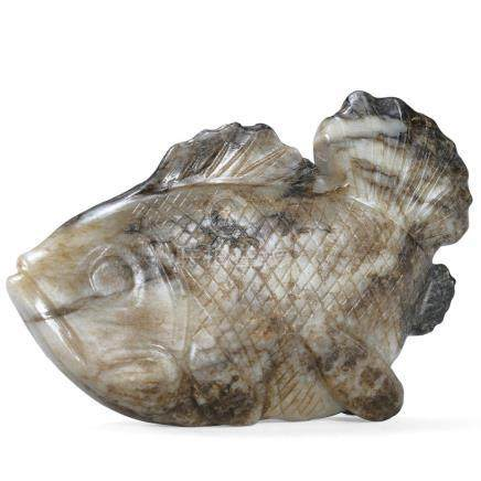 A White and Dark Brown Jade Fish / Yuan Dynasty