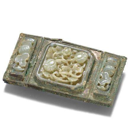 A Pale Celadon Jade Inlaid Gilt-Bronze 'Melon' Belt Buckle /