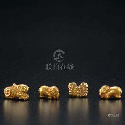4 Gold Mythical Animals / Liao Dynasty