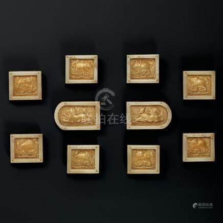 A Fine and Rare Set of Ten White-Jade-Mounted Gold 'Lion' Pl