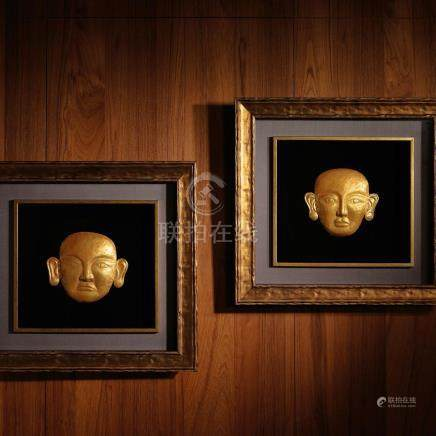 A Rare Pair of Gold Masks / Liao Dynasty