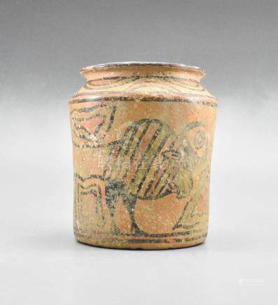 INDUS VALLEY PAINTED VESSEL WITH BULL AND BIRDS