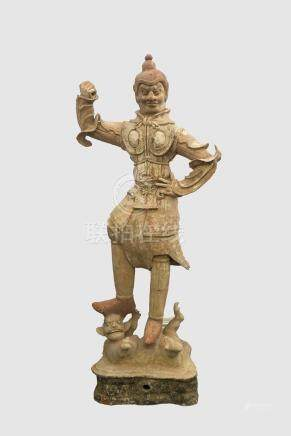 LARGE CHINESE TANG TERRACOTTA WARRIOR- TL TESTED