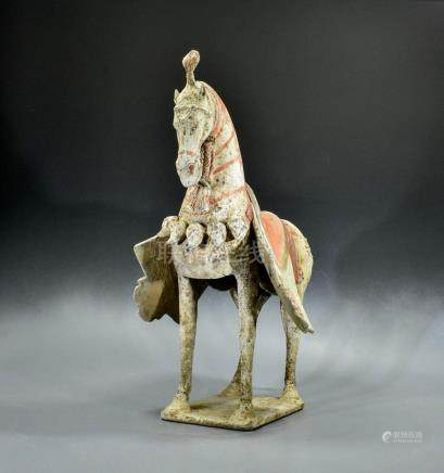 CHINESE DECORATED NORTHERN WEI TERRACOTTA HORSE- TL TESTED