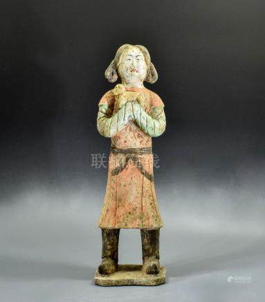 LARGE TANG TERRACOTTA FIGURINE CARRYING LAMB- TL TESTED
