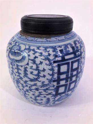 Late 19th C Blue & White Chinese Ginger Jar w Lid
