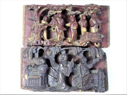 Pair of Chinese Carved Wooden Panels
