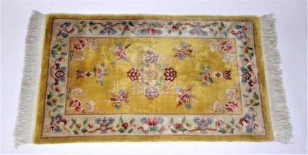 Semi-Antique Imperial Yellow Chinese Wool Rug
